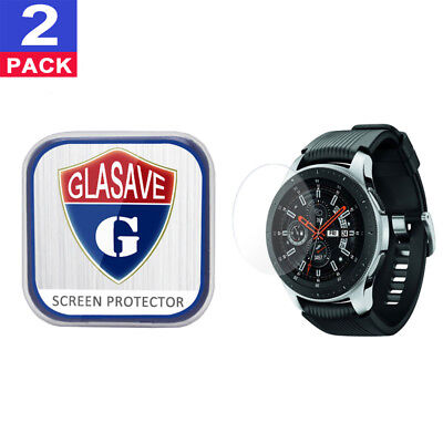 (2Pack) GLASAVE Samsung Galaxy Watch 46mm Tempered Glass Screen Protector Clear