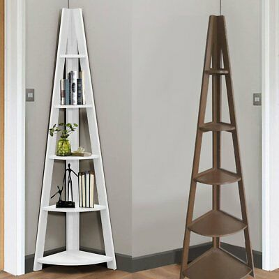 White 5 Tier Tall Corner Shelf Ladder Shelving Shelves Book Display Stand Home