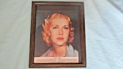 Vintage Framed Anita Louise Poster Supplement To The Philadelphia Inquirer 1936
