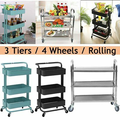 Metal Stainless Steel Kitchen Trolley Rolling Rack Cart 3 Tier Shelves Storage