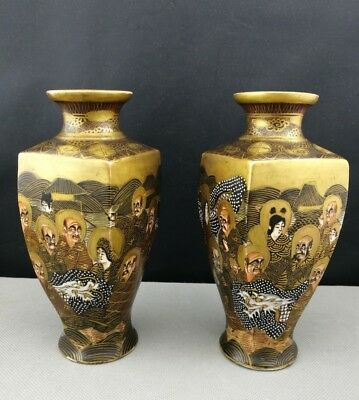 Fine Pair 19th Old ANTIQUE JAPANESE Satsuma vase - marked - Meiji Period - 萨摩烧 2