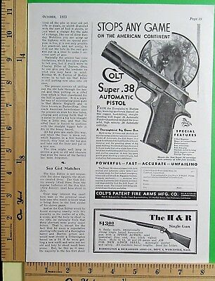 1933 COLT New Super 38 1911 Automatic Pistol STOPS ANY GAME Vtg Print Ad 10007