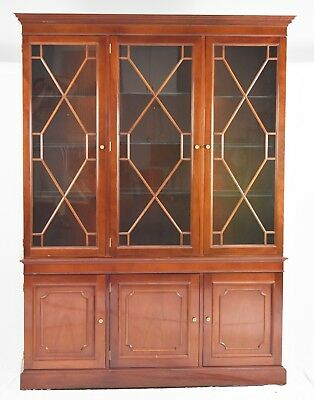 Kindel Chippendale Style Mahogany Breakfront Bookcase China Cabinet
