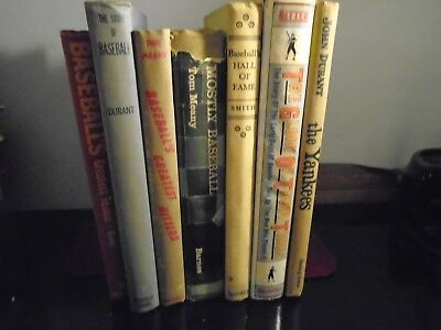Vintage lot of 7 baseball books and novels MLB Library signed Tom Meany, Yankees