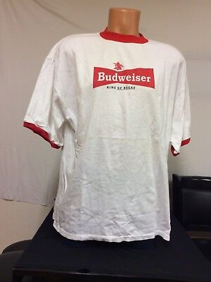 Ringer Tee Budweiser King Of Beers T-Shirt 2004 Issue White w Red XL