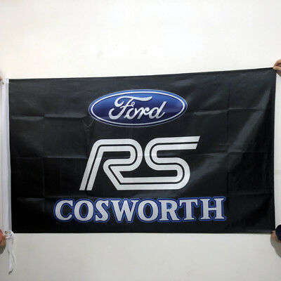 Ford Car Racing Flag Cosworth 3x5Ft/90x150cm Banner Polyester 2Grommets/180