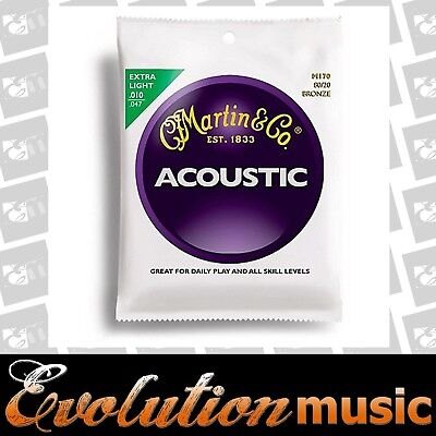 Martin M170 80/20 Bronze Round Wound Extra Light Acoustic Guitar Strings 10-47