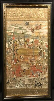 "Antique Japanese Framed Scroll ""Death Of Buddha"" Painting"