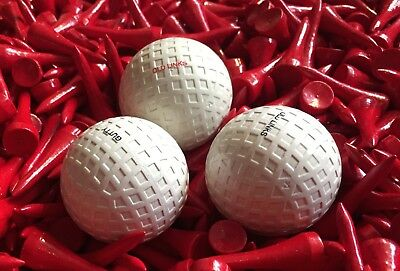 Old Course Gutty / Three Hickory Golf Gutty Balls, 30 wooden Hickory tees