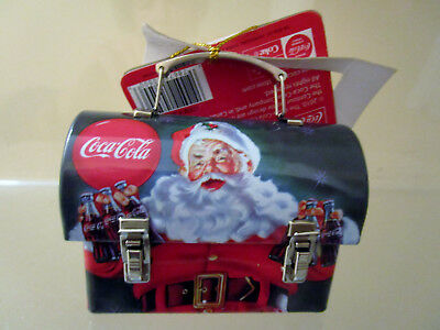 2010 Coca Cola Santa Xmas Mini Tin Carry All Ornament - New