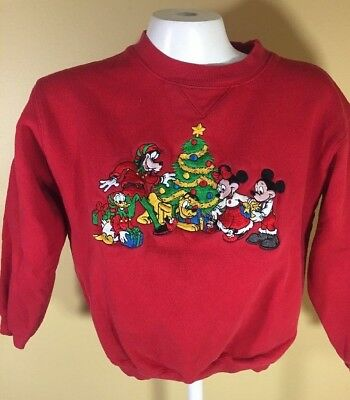 Disney Toddler Christmas Vintage Sweater Childs Size Large 12-14 Mickey Mouse