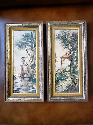 Vintage Set Of Two Small Ornate Wood Frames With Pictures Pair Of Pictures