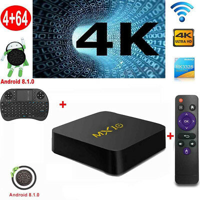 MX10 Android 8.1 4K Media Smart TV Box RK3328 Quad Core 4G+32G+Tastatur WIFI DS