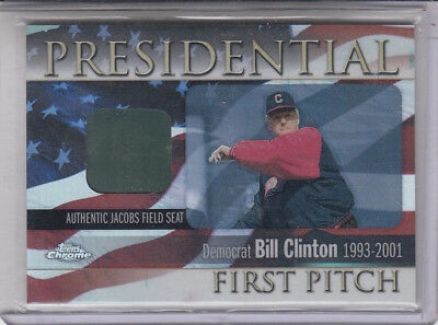 2004 Topps Chrome Präsidenten First Pitch Bill Clinton Fpr BC Sitz Relic