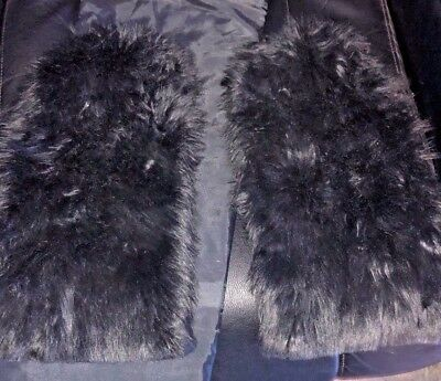 woman black furry leg warmers one size
