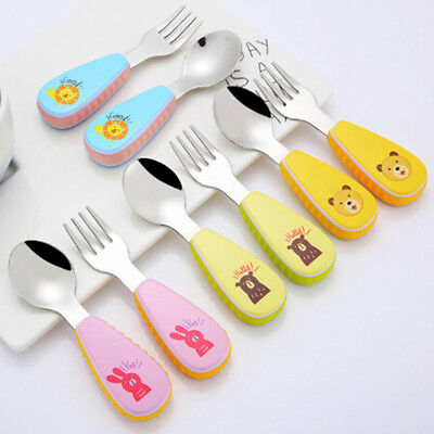 Baby fork and spoon toddler utensil feeding training child tableware set 2 pacWG