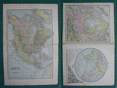 North America Eastern Hemisphere Vintage Original 1897 Cram's World Atlas Map