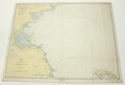 Massachusetts Bay 1945 Vintage Original USCGS Sailing Map Nautical Chart