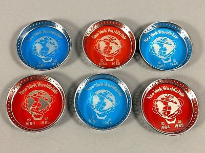 Set Of 6 Vintage 1964-1965 New York World's Fair Chrome Coasters