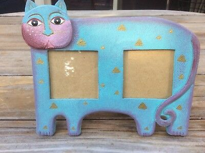 Cat Picture Frame Double Photo Blue by Axion World Imports Stand Up