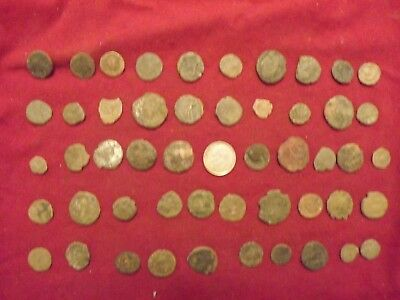 LOT OF 50 ANCIENT BRONZE ROMAN COINS Uncleaned Mid-Low Grade WWII Nort Africa 13