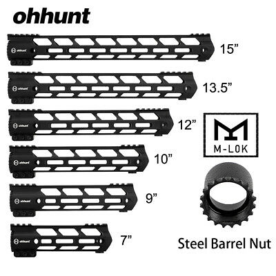 "Ohhunt 15"" 13.5"" 12"" 10"" 9"" 7"" Free Float M-LOK Handguard Picatinny with Nut"