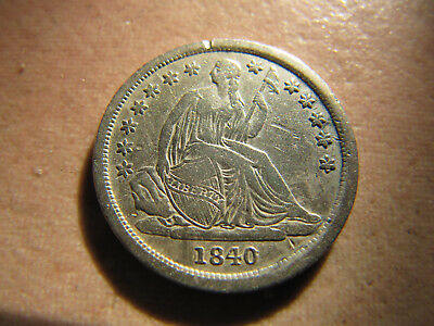 1840 Silver Seated Liberty Dime 10 Cents