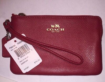 NWT Coach Wristlet Authentic Wallet F54626 Corner Zip Crossgrain LeatherTrue Red