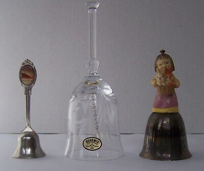 3 bells, Anri, Crystal, and Queen Mary silverplate bells one price