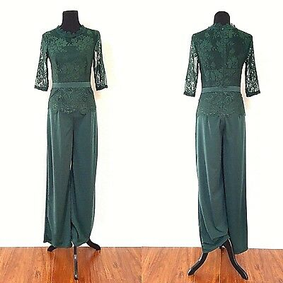 1970s VINTAGE HOLIDAY GREEN STRETCH LACE WIDE LEG PALAZZO JUMPSUIT XS/S EUC