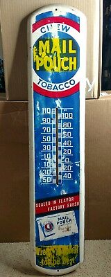 """1920s -  30s MAIL POUCH TOBACCO TIN LITHOGRAPH ADVERTISING THERMOMETER  SIGN 38"""""""