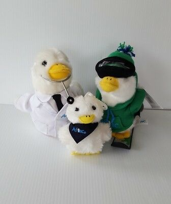 "Aflac Talking Plush Ducks Lot of 3 Doctor Skier 6"" and Original Keychain"