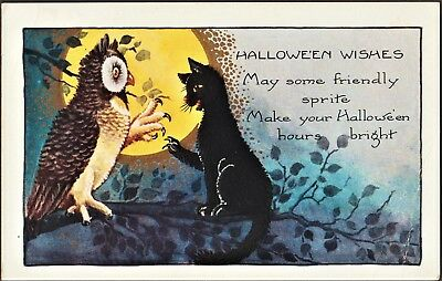 ANTIQUE PC HALLOWEEN WHITNEY Made Cat Moon Owl Unused Wishes