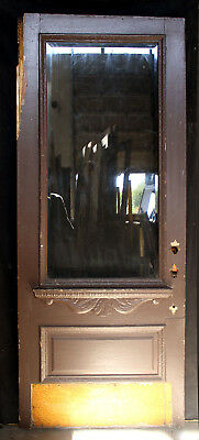 "36""x88"" Antique Vintage Victorian Exterior Entry Wood Door Beveled Glass Window"