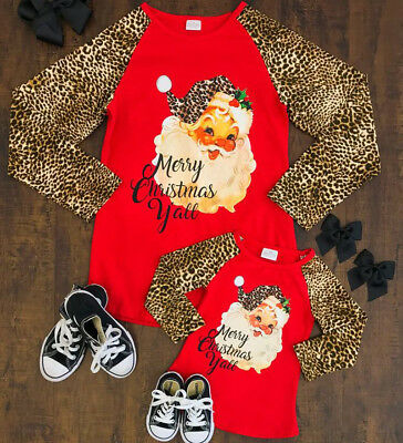 US Xmas Family Matching Mom Daughter Baby Long Sleeve Cotton T-Shirt Top Clothes
