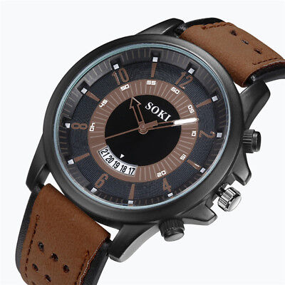 Cool Men's Military Army Leather Strap Quartz Analog Casual Dress Wrist Watches