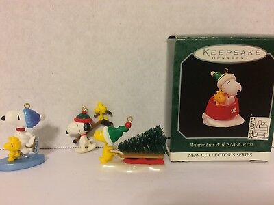 HALLMARK Keepsake MINIATURE ORNAMENT Snoopy Woodstock Lot of 4