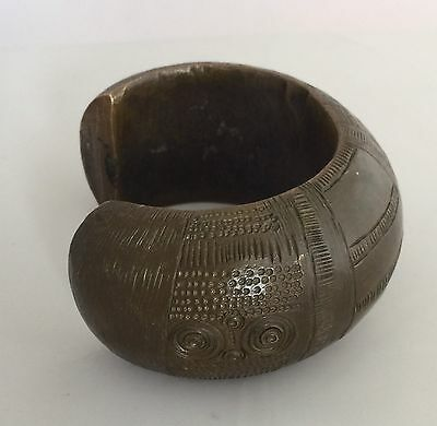 Antique African Tribal King Manilla Massive Bronze Currency Cuff Bracelet Slave