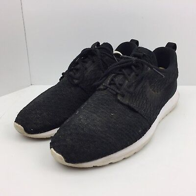 designer fashion d51e7 48cce Nike Roshe NM Flyknit Black Running Shoes Trail Sneakers 677243-011 Mens  Size 12