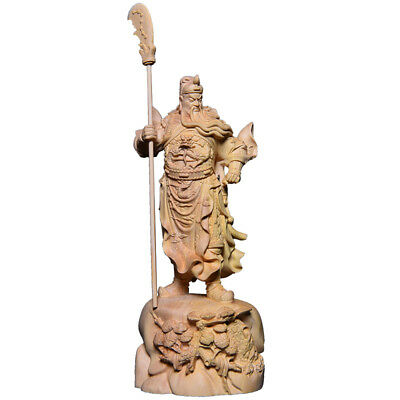 22cm, Chinese whole Boxwood Wood Carving Dragon Warrior Guan Gong Yu God Statue