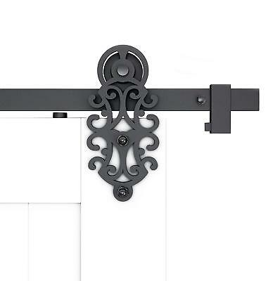 Ornate Cut Black Iron Sliding Barn Door Hardware with Spring-in Soft Close Stop