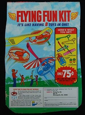 [ 1973 General Mills FROSTY O'S Cereal Box - Flying Fun Kit - Vintage ! ]