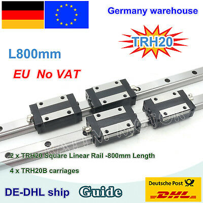 20mm Square Linear Guide Rail L800mm with Block Carriage Slider for CNC Router