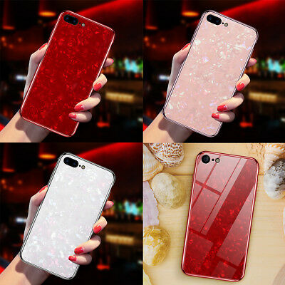 For iPhone 7 8 Plus Slim Tempered Glass Marble Shell Shockproof Hard Case Cover