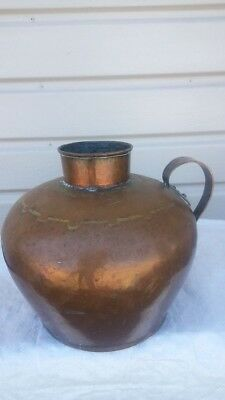 Arts Craft Mission Hammered COPPER Jug Pot Belly Vase Table Lamp Offer