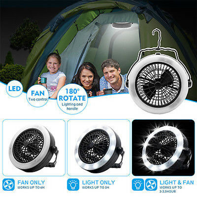 2 in 1 LED Camping Light Lantern Flashlight with Ceiling Fan Outdoor Portable