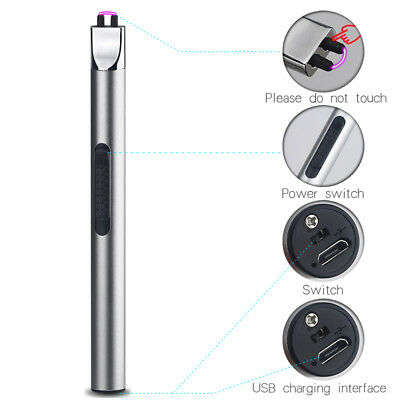 Electric Arc Lighter Windproof Flameless Cigarette Plasma USB RechargeableSilver