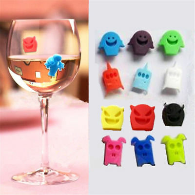 8PCS Cute Cup Wine Glass Drink Silicone Label Tag Markers Bottle Charms