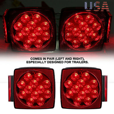 LED Square Red Trailer Turn/Signal/Stop 2 Light Set L/R Submersible DOT Under 80
