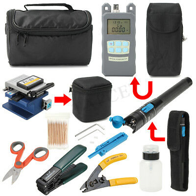 11Pcs Fiber Optic FTTH Tool Kit FC-6S+Fiber Cleaver+Power Meter Splice Strip A